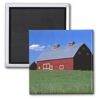 Red barn in Latah County, Idaho state PR MR) Square Magnet