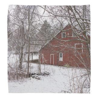 Red Barn In The Snow Bandana