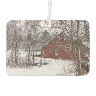 Red Barn In The Snow Car Air Freshener