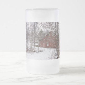 Red Barn In The Snow Frosted Glass Beer Mug