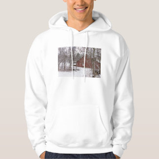 Red Barn In The Snow Hoodie