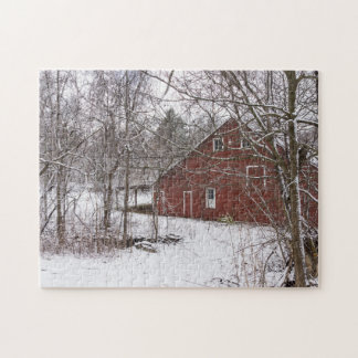 Red Barn In The Snow Jigsaw Puzzle