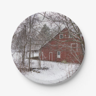 Red Barn In The Snow Paper Plate