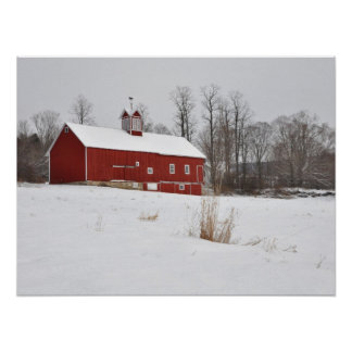 Red Barn in the Snow Poster