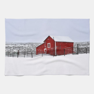 Red Barn in Winter Kitchen Towel Western Barn