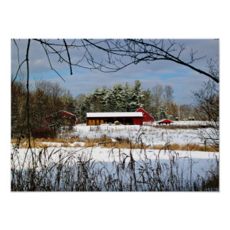 Red Barn in Winter Photography Print