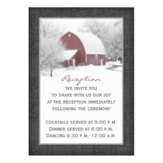 Red Barn in Winter Reception Enclosure Card 2 Business Card Template