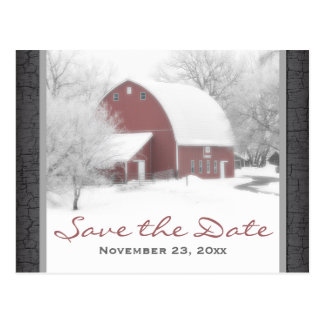 Red Barn in Winter Wedding Save the Date Post Card