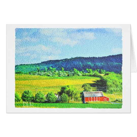 Red Barn/Landscape Art/Watercolor Look Card
