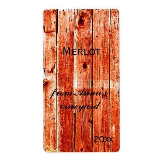 red barn painted planks wine bottle label