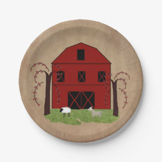 Red Barn Paper Plate