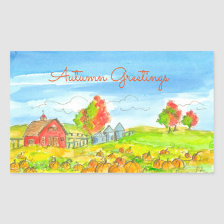 Red Barn Pumpkin Patch Autumn Greetings Rectangular Sticker