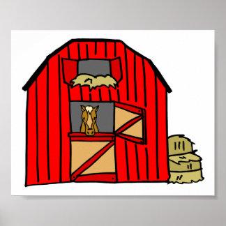 Red Barn Scene Equine Farm Poster