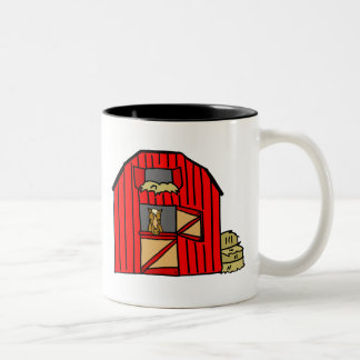 Red Barn Scene Horse Farm Stall Equine Two-Tone Coffee Mug