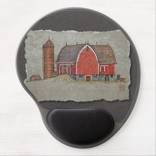 Red Barn & Silo Gel Mousepads
