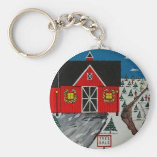 Red Barn Tree Farm Key Ring