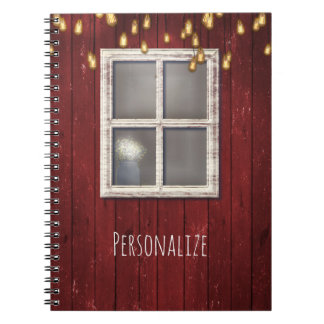 Red Barn Window & Lights Rustic Country Farmhouse Notebooks