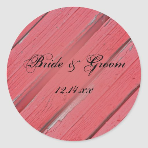 Red Barn Wood Country Wedding Envelope Seals Round