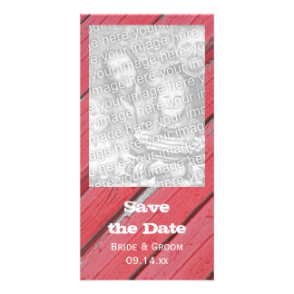 Red Barn Wood Country Wedding Save the Date Customised Photo Card