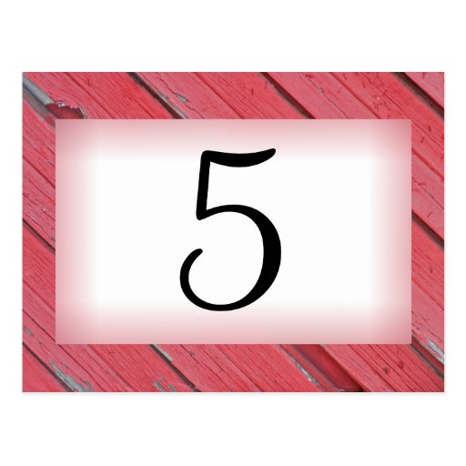 Red Barn Wood Country Wedding Table Number Postcard