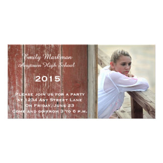 Red Barn Wood Photo Graduation Announcement Party Picture Card