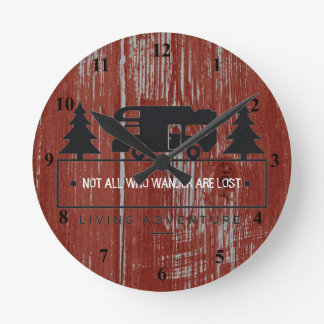 Red Barn Wood | Travel Quote Not All Who Wander Wall Clock