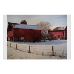 Red Barns in Winter- poster