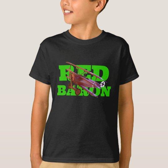 Red Baron Triplane & Green Text T-Shirt