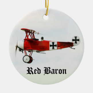 Red Baron's World War I Fokker Triplane Ceramic Ornament