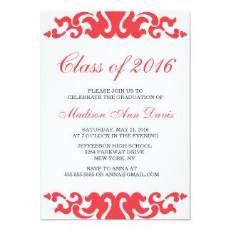 Red Baroque Deco Graduation 13 Cm X 18 Cm Invitation Card