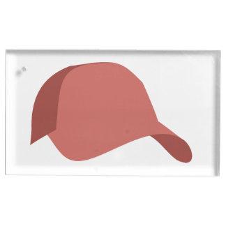Red baseball cap table card holder