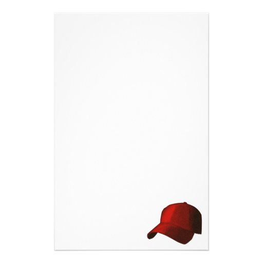 RED BASEBALL HAT CAP GRAPHIC STATIONERY PAPER