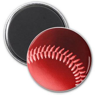 Red Baseball 6 Cm Round Magnet