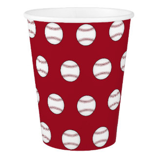 Red Baseball Sports BBQ Birthday Party Paper Cups