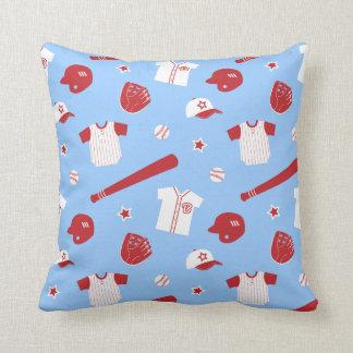 Red Baseball Theme Pattern, Boys Bedroom Throw Pillow