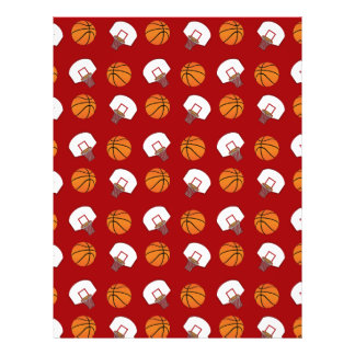 Red basketballs and nets pattern personalized flyer