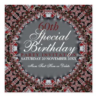 Red Batik Diamond 60th Birthday Invitations