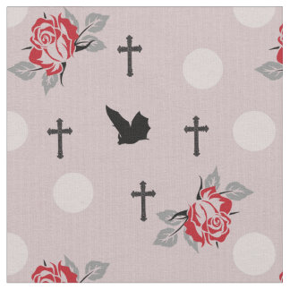 Red Bats and Roses Goth Fabric By The Yard
