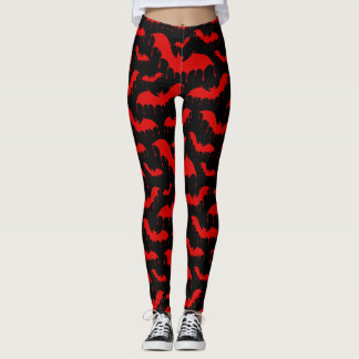 Red Bats Moth Nu Goth Gothic Alternative Leggings