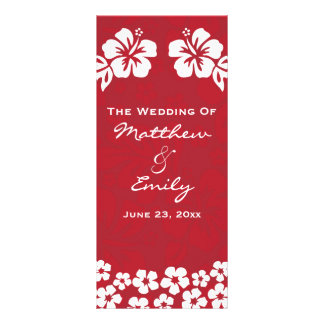 Red Beach Flowers Wedding Program Full Color Rack Card