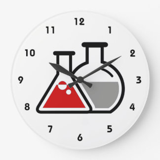 Red Beakers Scientific Design Wall Clock