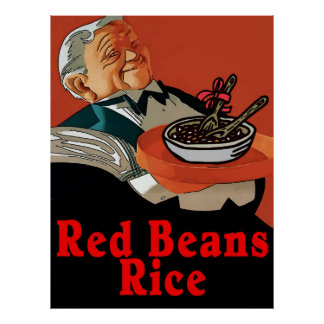Red Beans & Rice,vintage waiter Poster