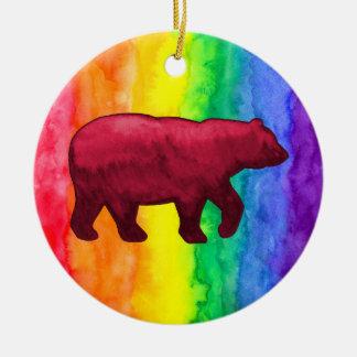 Red Bear on Rainbow Wash Circle Ornament