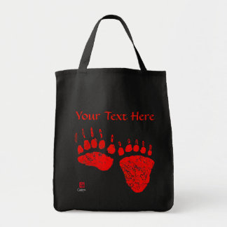 Red Bear Paws - Black Grocery Tote