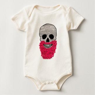 Red Beard Flower Hipster Day of the Dead Skull Baby Bodysuit