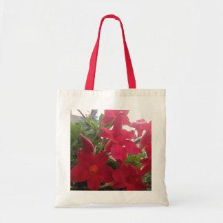 red  beautiful flowers tote bag