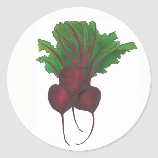 Red Beet Bunch Vegetable Vegetarian Gardening Food Classic Round Sticker