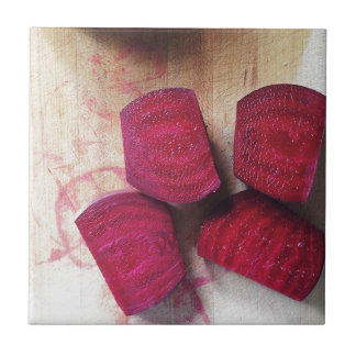 Red Beets Small Square Tile