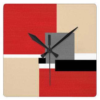 Red Beige Gray Black White Geometric Square Wall Clock