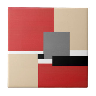 Red Beige Gray Black White Geometric Tile